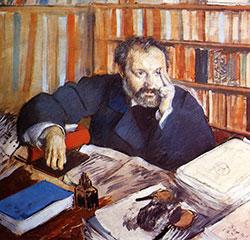 Dipinto di Degas - ritratto Duranty - particolare
